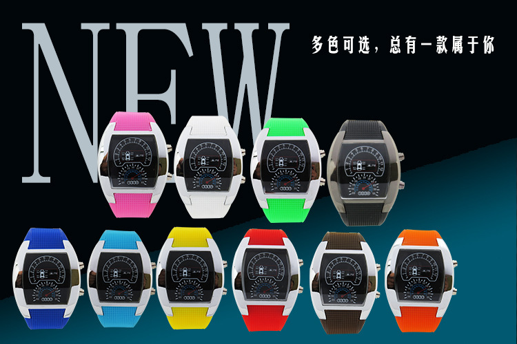 Wholesale 50pcs/lot Mix 6colors Dashboard LED Version Promotional Car Watch Sector Sports Men Wrist Aviation Led Watch RW019<br><br>Aliexpress