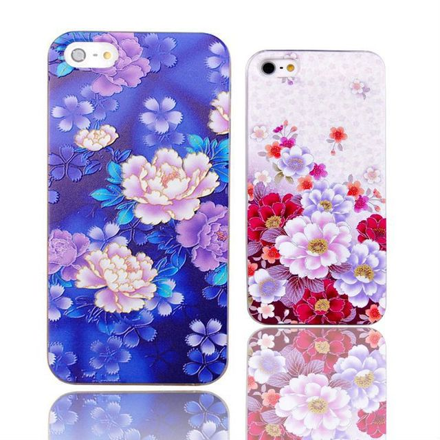 Classical Hard Plastic Embossment Case for iPhone 5 5s Beautiful Lotus Sexy Girl Original Relief Phone Cases Cover for iPhone 5