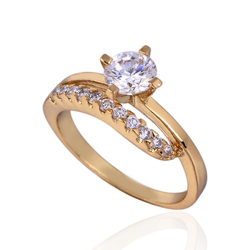 1PCS 18K Real Gold Plated White Zirconia Diamond fashion Jewelry ring Retail Wholesale E-shine Jewelry