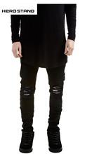 Mens straight jeans men Runway Distressed elastic jeans denim Biker jeans hiphop pants Washed black jeans for men