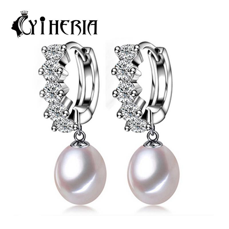 Pearl Jewelry, Pearl earring, 100% natural Pearl with 925 Sterling Silver earrings, Drop Earrings Women fashion earrings<br><br>Aliexpress