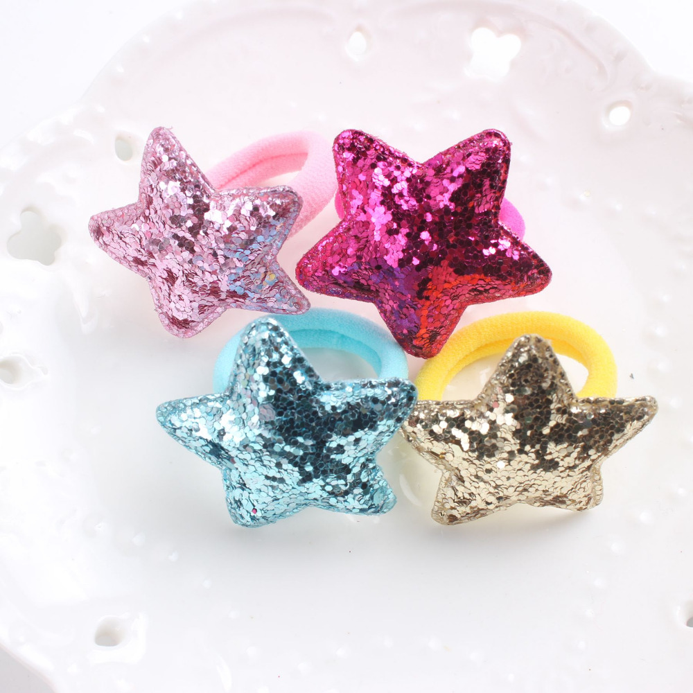 2017 new Glitter powder Star 5 colors beautiful rubber band kids 30mm+40mm The ponytail holder hair accessories for girl 1pcs(China (Mainland))