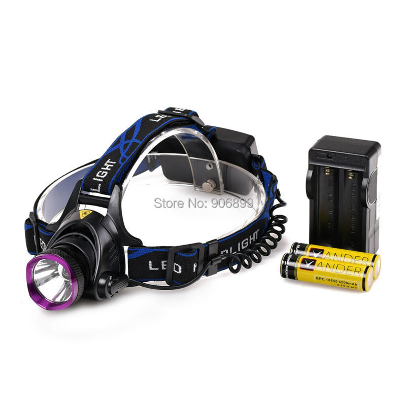 New Rechargable Head Lamp Light 2000 Lumens Led Headlamp XM-L T6 LED Headlamp Headlight 3 Modes + 2 x18650 Battery + 1x Charger(China (Mainland))