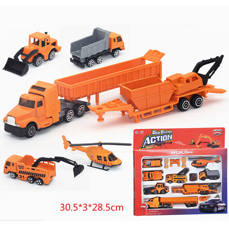 Music & flash 1:64 Diecast Alloy car model toy metal material vehicles 14 pcs machineshop truck shop truck set C1027(China (Mainland))