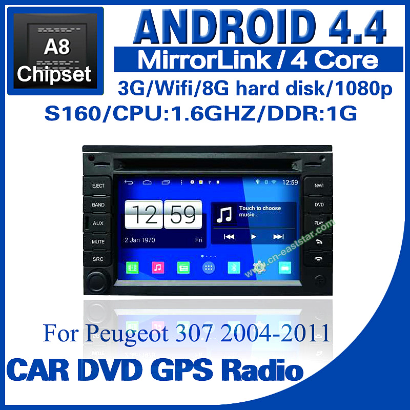 Android 4.4 car dvd for Peugeot 307 s160 with dvd GPS radio BT TV USB SD 3G Wifi steering wheel Free shipping ES-1215A(China (Mainland))