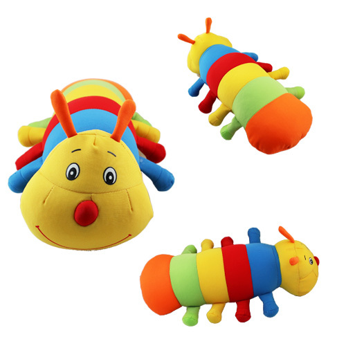 FREE SHIPPING Anime Cartoon Cute !! Colorful WORM Plush Foam Particles 34cm Lenght Caterpillar(China (Mainland))