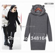 Brand Women hoodie Sweatshirts Plus Size Pullovers moleton feminino Long hoodies Dress Women leopard print Outwear Coat 2015(China (Mainland))