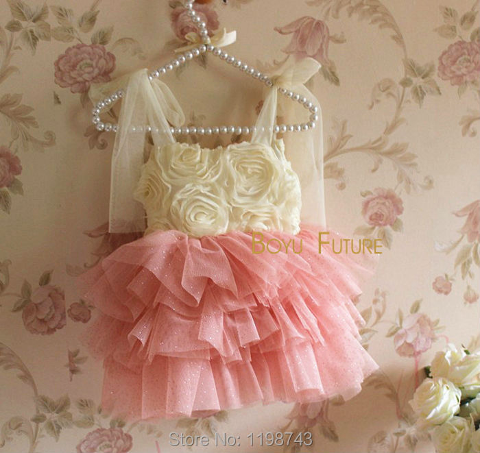 Summer Style Girl Dress Sleeveless Rosette Flowers Sparkling Golden Polka Dots Party Dress Baby Girls Clothes Kids Clothes 2-6Y(China (Mainland))