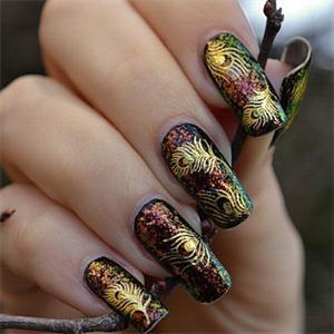 2015 New Fashion Women Nai Stickers Gold Peacock Feather women's beautiful nail Decals Stickers Nail Art tip Stickers(China (Mainland))