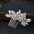 Silver Rhinestone Flower Hair Comb Wedding Accessories Pearl Bridal Hair Jewelry Combs Handmade Women Headpiece