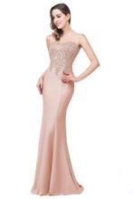 Robe de Soiree Longue Sexy Backless Red Mermaid Lace Evening Dress 2017 Long Cheap Appliques Evening Gowns Vestido de Festa(China)