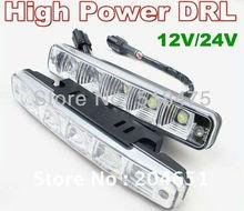 Free shipping Top quality day light led car 5leds 5050 SMD white LED daytime running light DRL E4 RL00 2pcs/lot(China (Mainland))