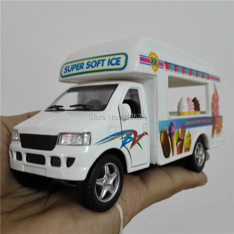 5'' DieCast Metal * Doors Openable * Pull Back Action Super Soft Ice Cream Truck 1:24 Alloy Kinsmart Diecast model toy cars(China (Mainland))