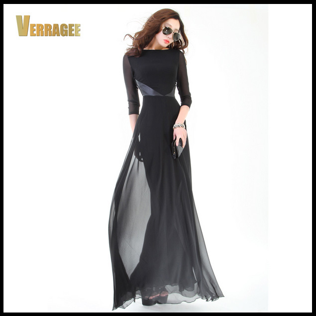 2015 New Womens Black Elegant Chiffon Floor Length Long Maxi Robe Girl's Slim Plus Size Dress Vestido De Festa H43 - Boutique cottages store