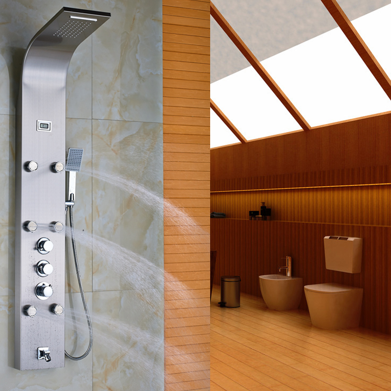 Luxury Thermostatic Mixer Shower Faucet Bath Shower Column Digital Temperature Display Shower Panel Tower(China (Mainland))