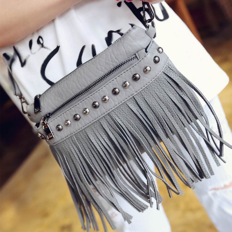 European And American Style 2016 Hot Sales Fashion Solid Women Handbags Tassel High Quality Pu Leather Shoulder Messenger Bags(China (Mainland))