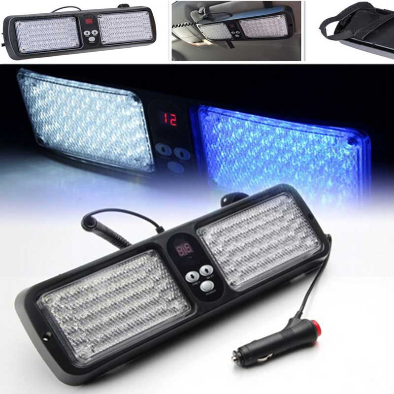 Visor Led blue red flashing light lamp 86Led Car/Auto interior decorative strobe light Emergency warning led(China (Mainland))