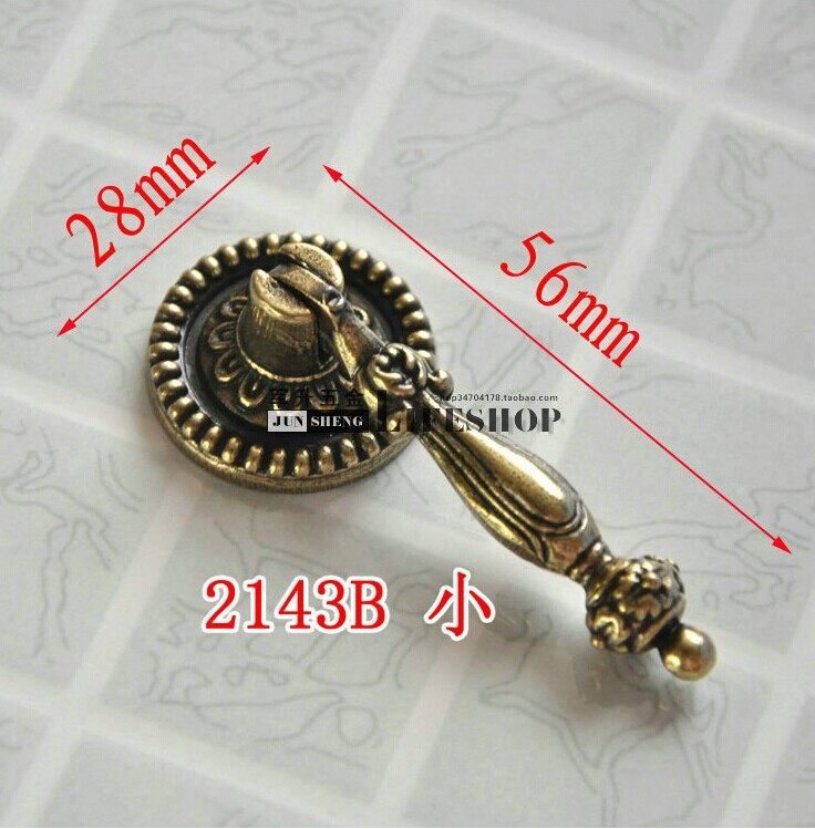 Furniture handles Cabinet knobs and handle Copper Cabinet Wardrobe door Handle Drawer knobs Cupboard Pull handles 5pcs/lot(China (Mainland))