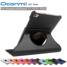 360 Rotating PU Leather case for Huawei MediaPad T1 7.0 inch T1-701U protective sleeves tablet case cover(China (Mainland))