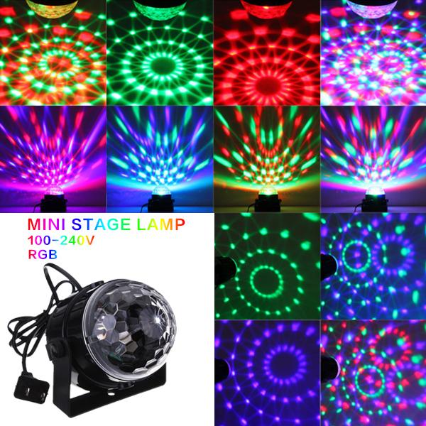 Mini RGB LED Crystal Magic Ball Stage Effect Lighting Lamp Bulb Party Disco Club DJ Light Show US Plug(China (Mainland))