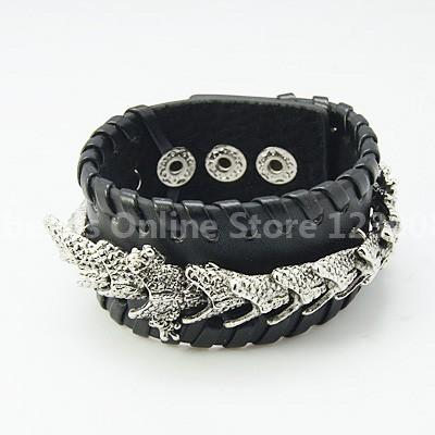 Dragon Punk Rock Leather Bracelets, Gothic Style, Nice for Men, with Zinc Alloy Findings, Black, about 31mm wide, 222mm long(China (Mainland))