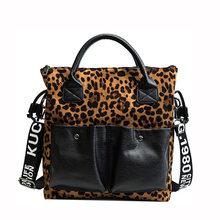 Leopard Double Saku Desain Tas Tangan Fashion Tas Wanita Kualitas Tinggi Wanita Bahu Messenger Tas Kapasitas Besar Totes(China)