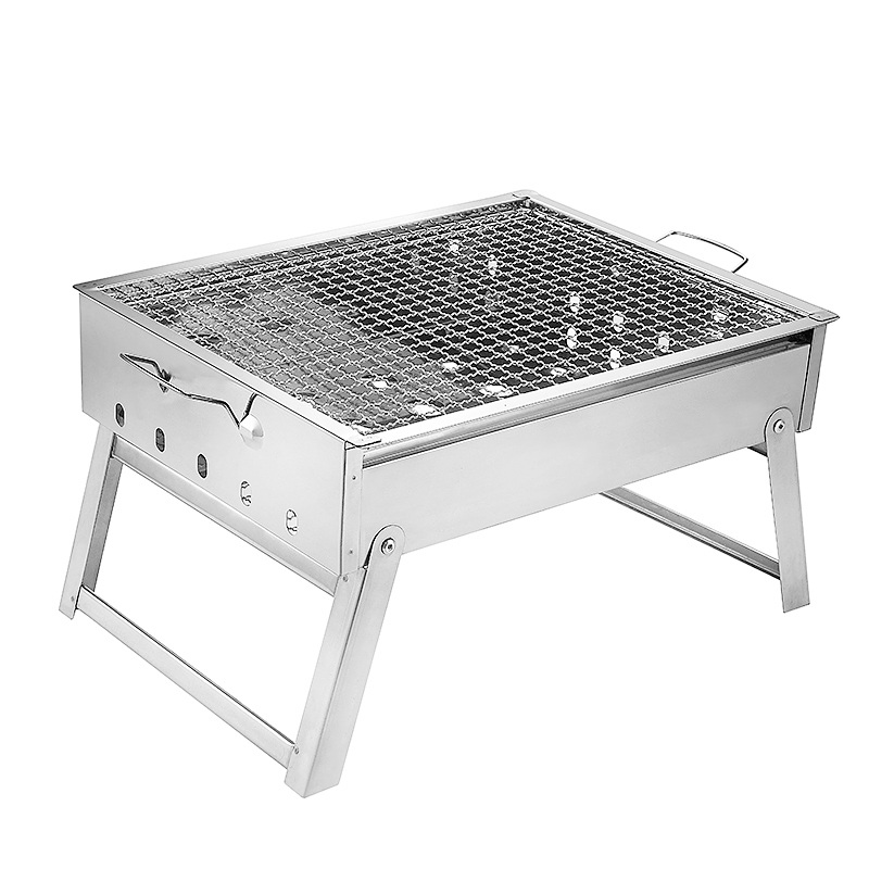 EC DAILY Thick stainless steel iron burning stove outdoor barbecue grill portable charcoal barbecue rack full range of househol(China (Mainland))