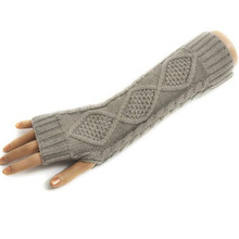 Ladies Long Fingerless Warm Gloves Women Amazig Long Mitten Gloves Woman Knitted Arm Wrist Winter Gloves Solid Color H6630 P30(China (Mainland))