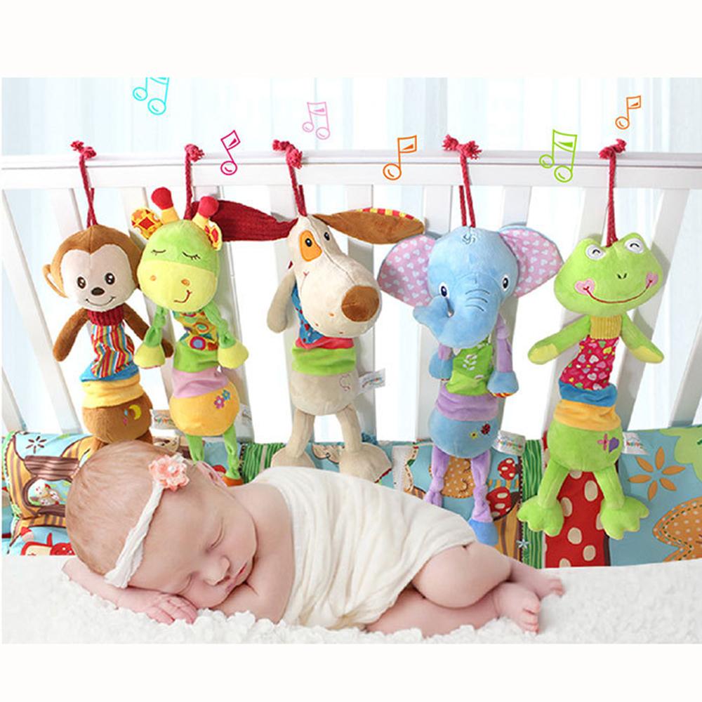 Baby Rattle Ring Bell Baby Toy Soft Plush Elephant/Deer/Dog/Frog/Monkey Crib Bed Hanging Animal Newborn Infant Educational Doll(China (Mainland))