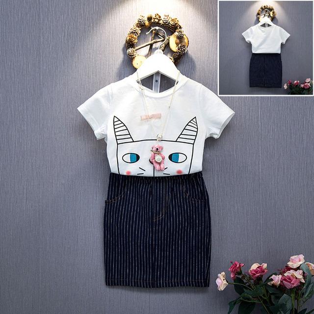 2016 новый летний мода девушка милая очаровательны сокровище дикие с короткими рукавами футболка + юбка костюм детская одежда