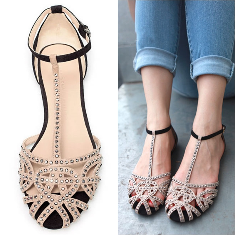 Hot sale brand new 2014 fashion women Flat sandals rhinestone cutout summer shoes High quality open toe ladies shoes(China (Mainland))