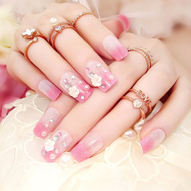 2Full Nail Tips rhinestone false nails Gradient Pink Fake Nails Long Design Full Cover False free glue sticker - the best service,the last price,Direct Manufacturer store