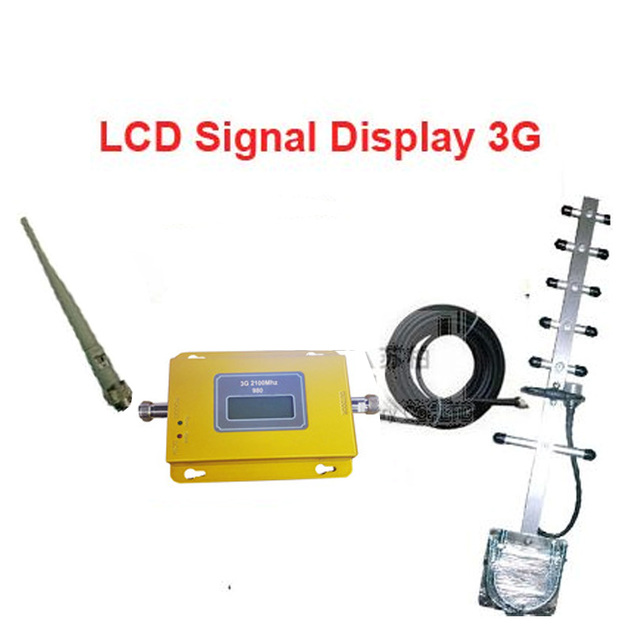 w/ yagi antenna+10M cable LCD display function model 950 3G booster repeater,WCDMA booster repeater,2100Mhz repeater booster