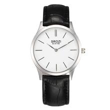 Srozi 5.8 mm Extra fina hombres y mujeres relojes esfera blanca de cuero negro cuarzo delgado reloj pareja Simple reloj Degisn