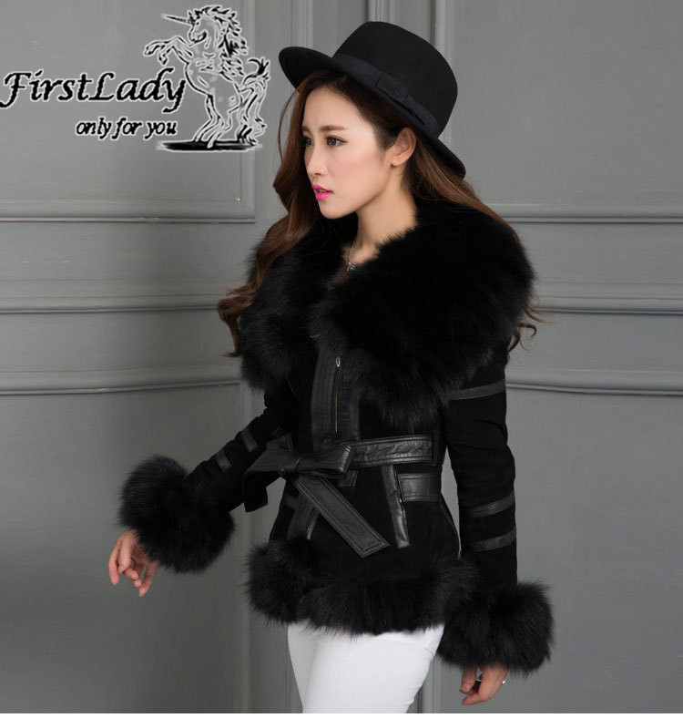 Real fox collars real leather jacket 2