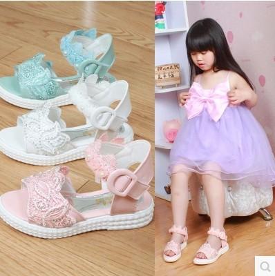 2015 летний новый девушки мода перл кружева вышитые алмаз аппликации сплайсинга принцесса детей женского Falt обувь X56