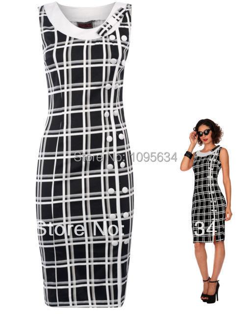 free shipping new black white Chiffon font b tartan b font pencil wiggle dress vintage 50