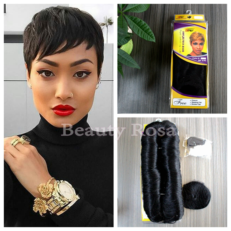 27 Short Hair Extensions 27 Pieces Short Human Straight Hair Weave ...