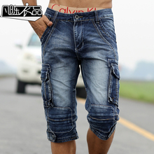 2016 New Men Retro Cargo Denim Shorts, Men's Casual Washed Cotton Short Jeans,Men Outdoor Wear Military Style Free Shipping A021(China (Mainland))