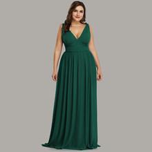 בתוספת גודל שמלות נשף ארוך 2019 פעם די אלגנטי מודפס אונליין צווארון V שיפון ללא שרוולים מסיבת שמלות Robe דה Soire(China)
