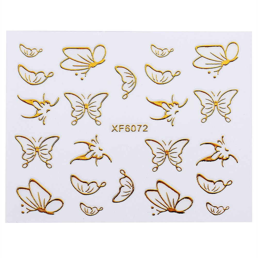 Golden 3D DIY Water Transfer Nail Art Sticker Decal Watermark Butterfly Feather Design Nail Sticker Manicure Decor Tools 1649805(China (Mainland))