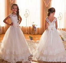 Backless Ivory Lace Flower Girl Dress