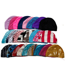 Free Size Swimming Cap Polyester Protect Ears Long Hair Sports Swim Pool Hat for Men Women Adults Print Swim Caps(China (Mainland))