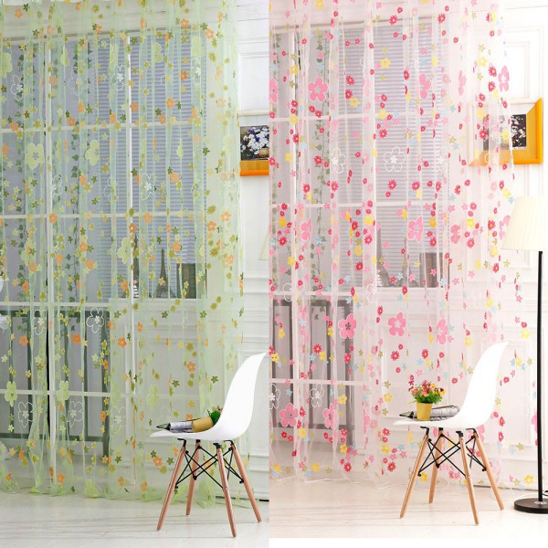Floral Print Sheer Curtain Panel Window Balcony Tulle Room Divider Curtain Scarf New