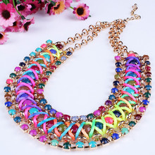 7 Colors Chokers Necklaces Statement Necklaces Punk Personality Rhinestone Choker Fine Jewelry XL141