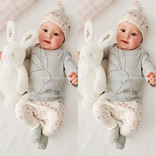 New Infant Baby Boy Girl Clothes Hat T-shirt Pants Bunny Romper Outfits 3pcs Set