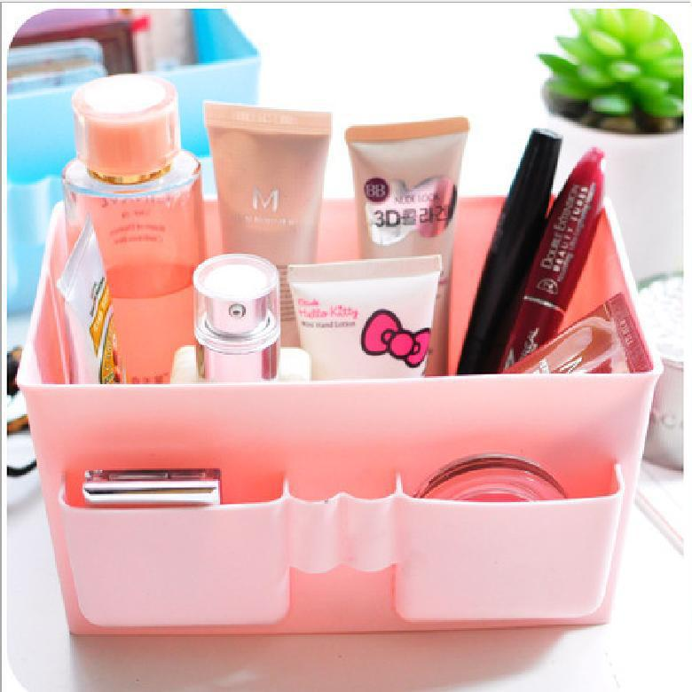 Fresh pink solid bulk plastic storage box cosmetic finishing the desktop Korea boxes waterproof dressing(China (Mainland))