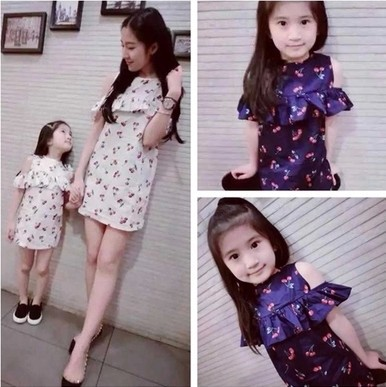 2016 Summer Korean Parent-Child Dresses Family Fitted Clothing Mother Daughter Cotton Short-Sleeve Princess Dress One-Piece Y441(China (Mainland))