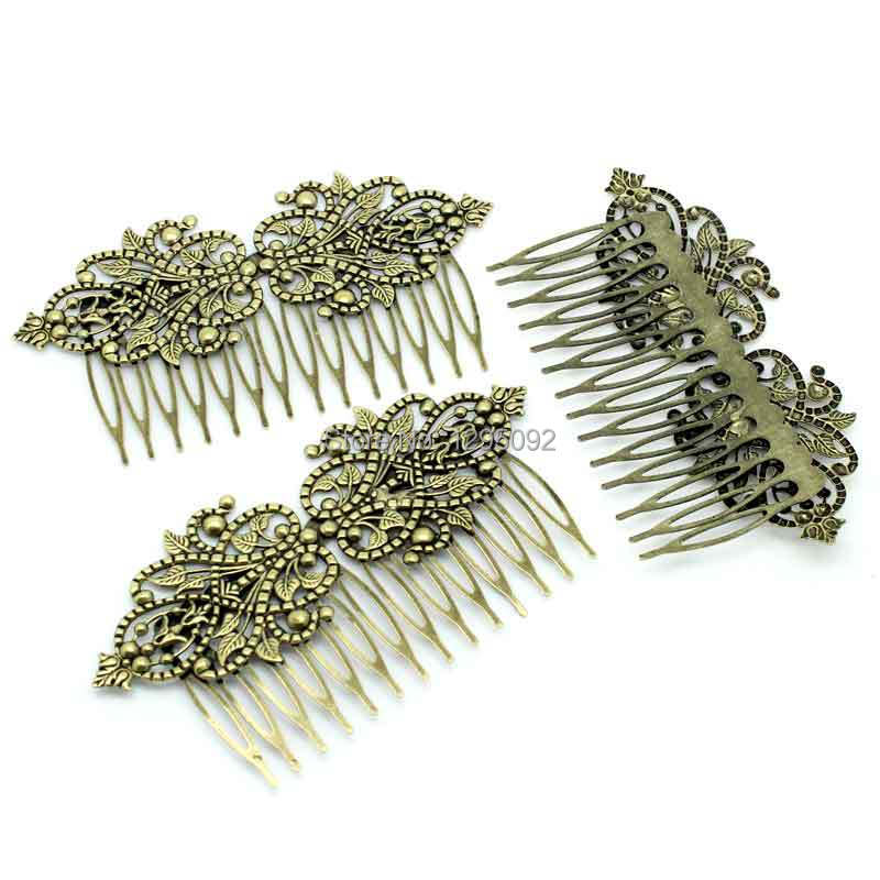 50Pcs Wholesale Bronze Tone Comb Shape Flower Hollow Barrettes Hair Clips Jewelry Findings 98x52mm(3 7/8x2)<br><br>Aliexpress