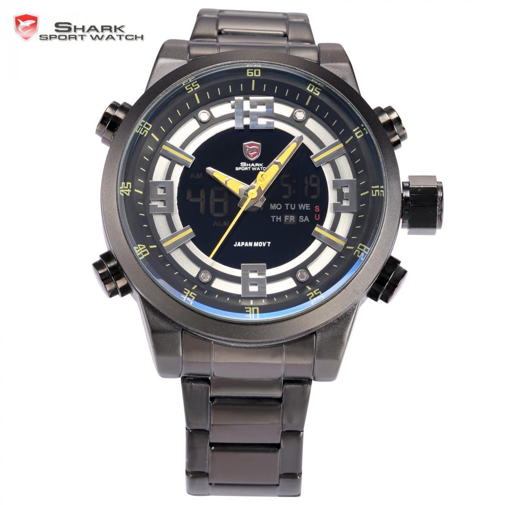 Kitefin Shark Sport Watch Auto Date Day Stopwatch LCD Black Yellow Steel Band Relogio Quartz Military Men Digital Watches /SH342(China (Mainland))